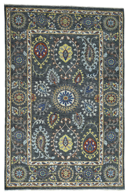 Hand knotted pure wool arts and crafts design rug for Arts and crafts style rug
