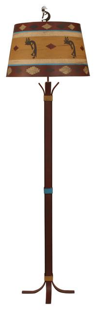 Iron Floor Lamp With 4-Legs & Collar Accent.