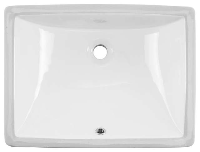 "Undermount 20"" Glazed Porcelain Trough Bathroom Sink, White"