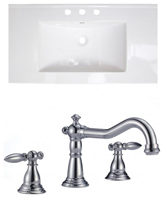 "Ceramic Top Set, White Color With 8"" O.c. Cupc Faucet."