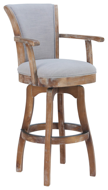 Admirable Malone Arm 30 Swivel Barstool Distressed Oak Finish And Putty Ivory Linen Pdpeps Interior Chair Design Pdpepsorg