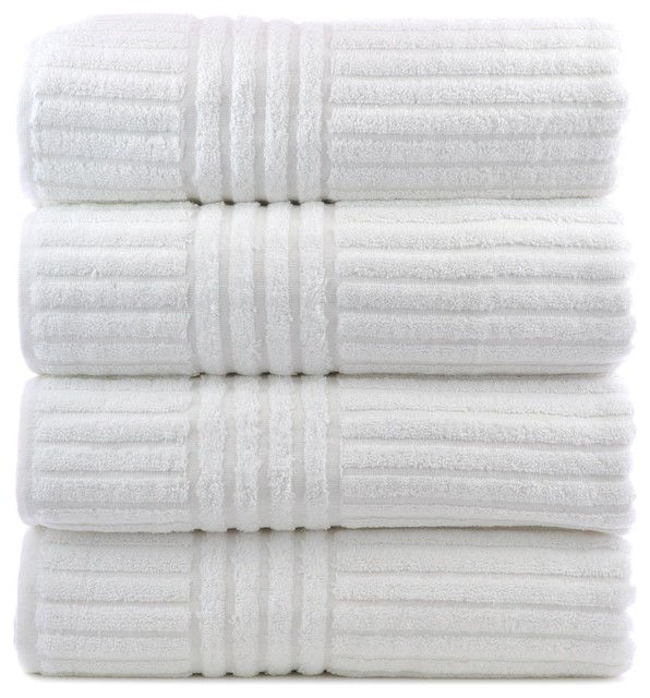 Juno Luxury Cotton Hotel And Spa Bath Towels, White, Set Of 4.