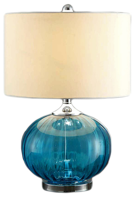 New Port Sea Blue Glass And Metal Table Lamp With White Linen Shade.