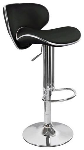 Kappa Contemporary Adjustable Bar Stools, Black Licorice, Set Of 2.