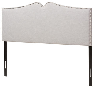 Gracie, Grayish Beige Fabric Upholstered Queen Size Headboard, Nail Heads Trim