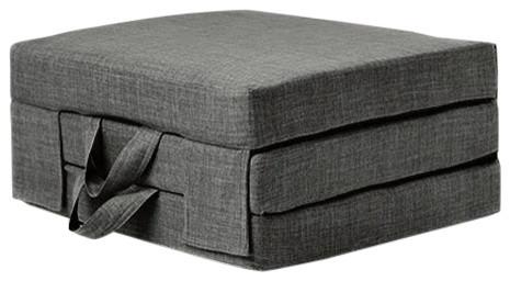 Single Portable Foam Folding Mattress With Carry Handles, Slate Grey Linen
