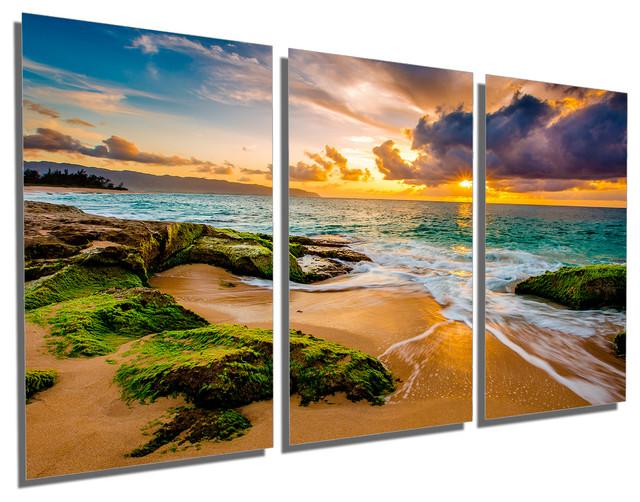 hawaii beach sunset metal print wall art 3 panel split triptych 48x24
