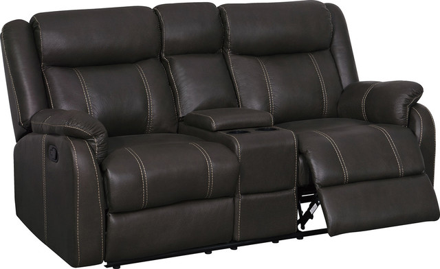 Console Reclining Loveseat With Drawer Gin Rummy Charcoal, Seal.