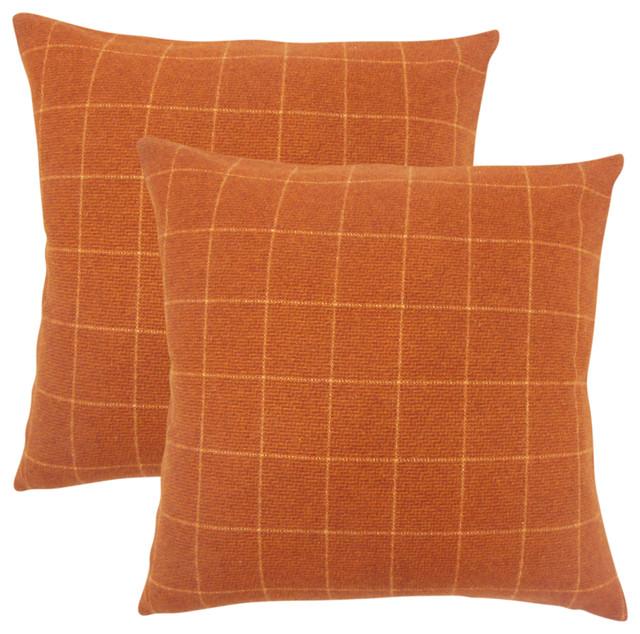 Hanan Plaid Throw Pillows, Set of 2, Orange