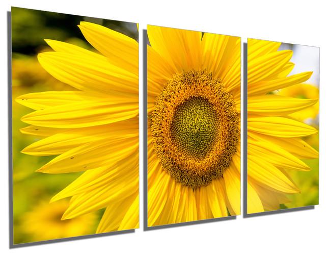 Yellow Sunflower Metal Print Wall Art 3 Panel Split, Triptych Wall ...