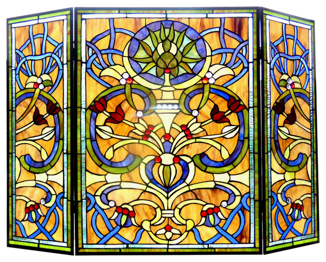 "Bardot, Tiffany-Glass Victorian 3pcs Folding Fireplace Screen, 40"" Wide."
