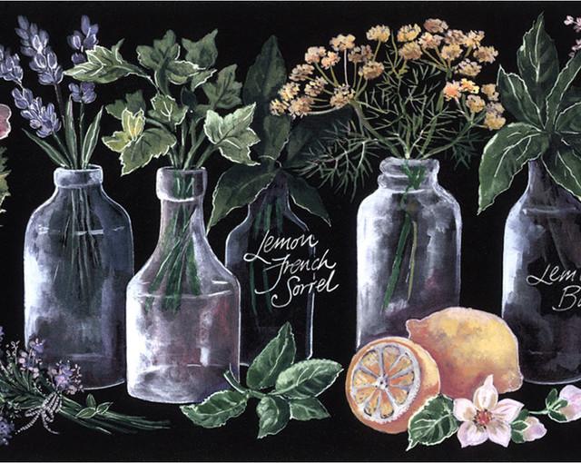 Norwall Kk79374 Wallpaper Border Lemon Herbs Kitchen Black