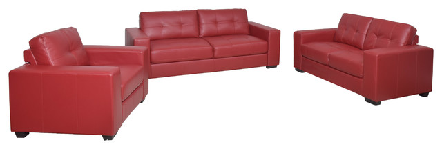 Corliving Club 3-Piece Tufted Red Bonded Leather Sofa Set.