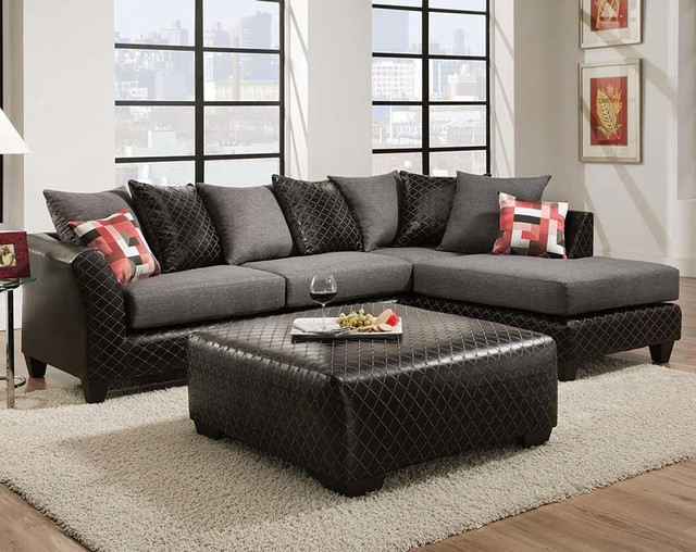 American Freight Furniture And Mattress Accessories Jitterbug Grey Two Piece Sectional Sofa Contemporary Living Room