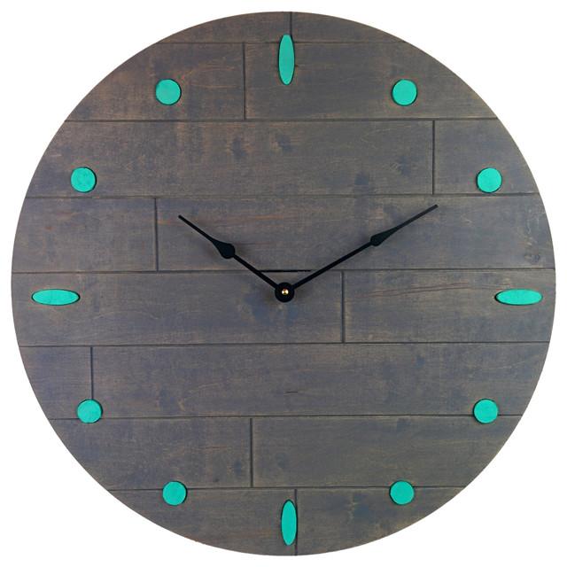 rustic wood wall clock gray and teal