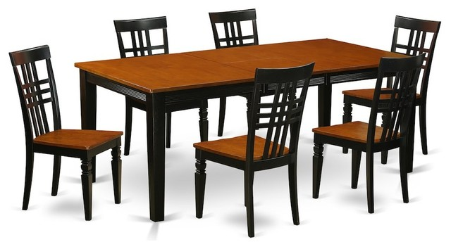 7-Piece Kitchen Table Set With a Dining Table and 6 Chairs, Black and Cherry by East West Furniture
