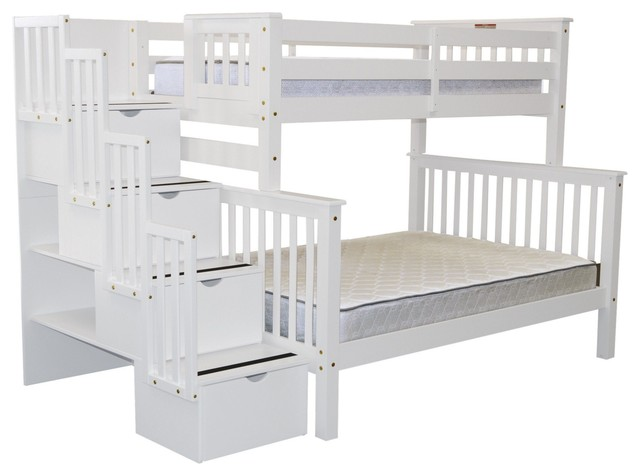Bedz King Bunk Beds Twin Over Full Stairway With 4 Step Drawers, White.