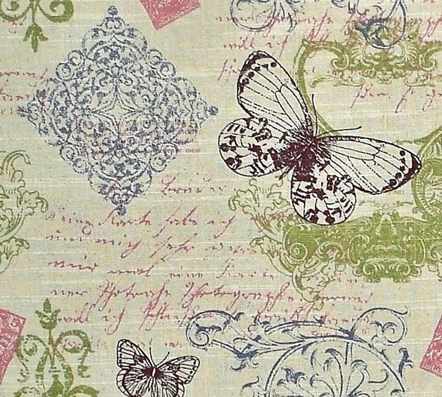 Butterfly Fabric Toile French Script, Pink, Blue, And Green, Standard Cut  Modern Part 72