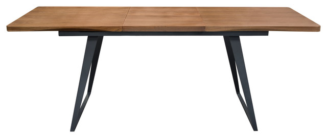 Tempo Extension Dining Table With Walnut Top And Black Powder Coated Legs.
