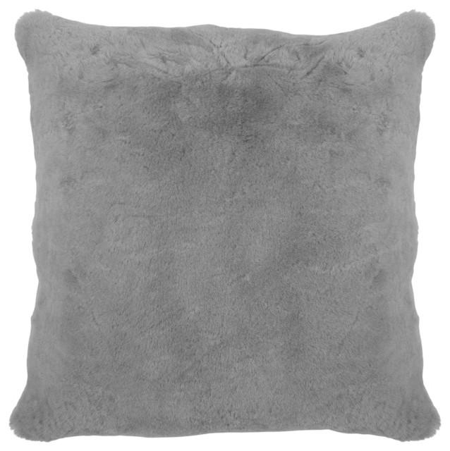 argali modern narwhal gray short wool sheepskin fur pillow 22x22