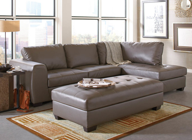 Joaquin Grey Leather Sectional Modern Sectional Sofas