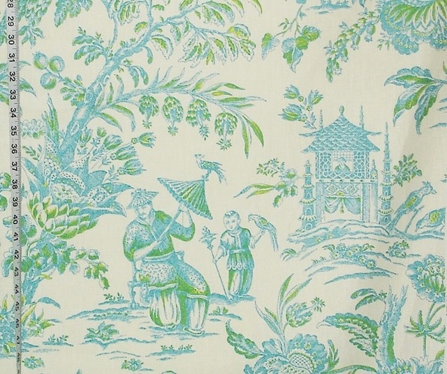 Chinoiserie Toile Fabric Pagoda Turquoise Blue Green