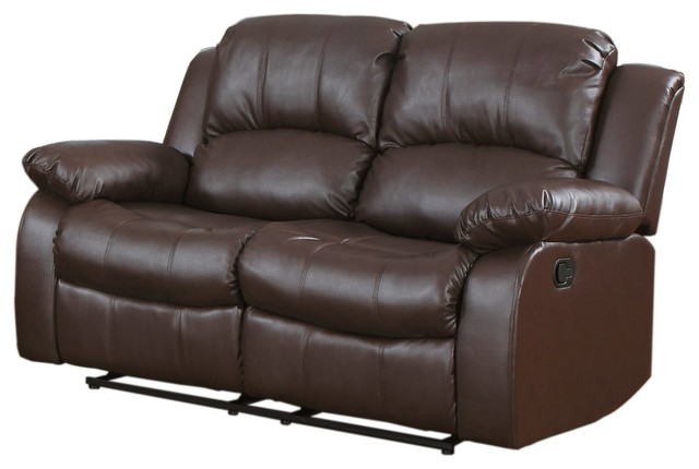 Classic And Traditional Brown Bonded Leather Recliner Love Seat, Brown.
