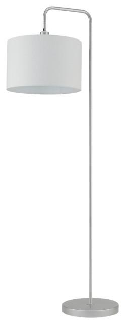 "Barden 58"" Floor Lamp, Silver/Shade: White Fabric"