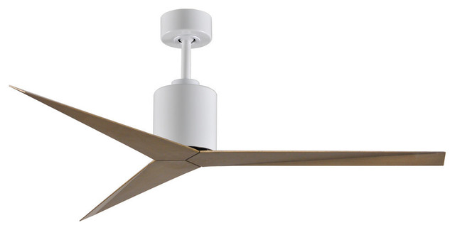 Eliza 3 Blade Paddle Ceiling Fan In Gloss White Finish With Gray Ash Blades.