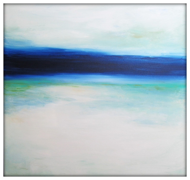 Large Abstract Painting on Canvas Modern Acrylic Skyline- 40x40- Blues, White, G