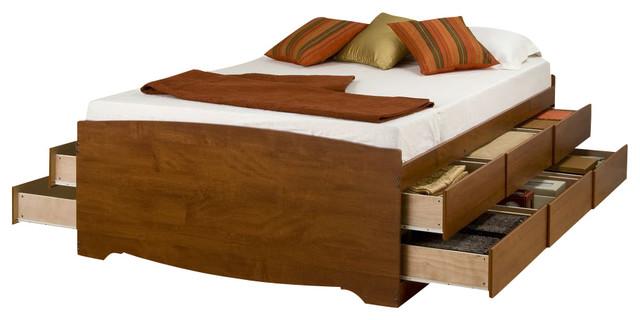 Prepac Cherry 12 Drawers Tall Platform Storage Bed