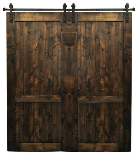 Dogberry Collections   Drawbridge Double Barn Doors, Set Of 2, Dark  Chocolate   Interior