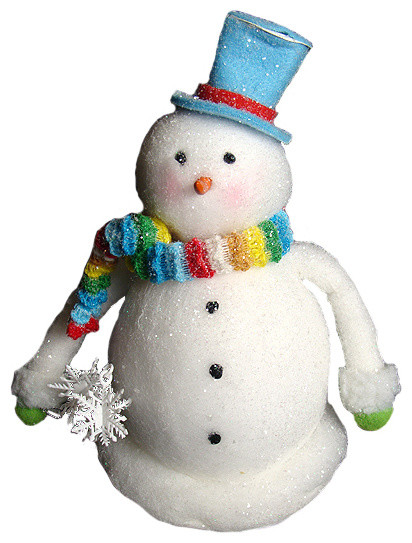 "Cupcake Heaven Chubby Snowman With Rainbow Knit Scarf Christmas Table Figure, 9""."