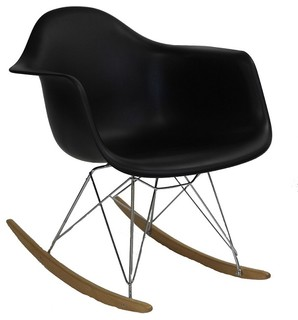 RAR Mid Century Modern Rocking Chair, Steel Eiffel Legs, Black