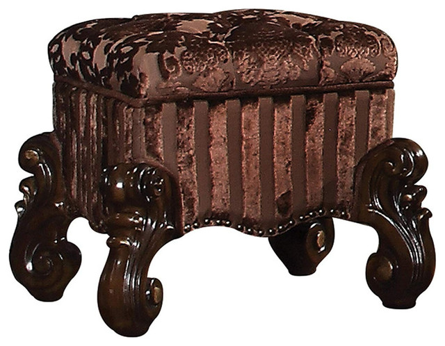 Amazing Tufted Fabric Upholstered Wooden Vanity Stool Scrolled Legs Cherry Oak Brown Squirreltailoven Fun Painted Chair Ideas Images Squirreltailovenorg