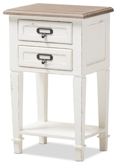 Provincial Style Weather Oak And White Wash Distressed Finish Wood Nightstand Farmhouse Nightstands Bedside Tables By Imtinanz Llc