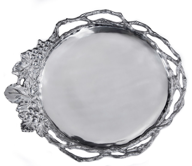 Grape Open Vine Large Round Tray Traditional Serving