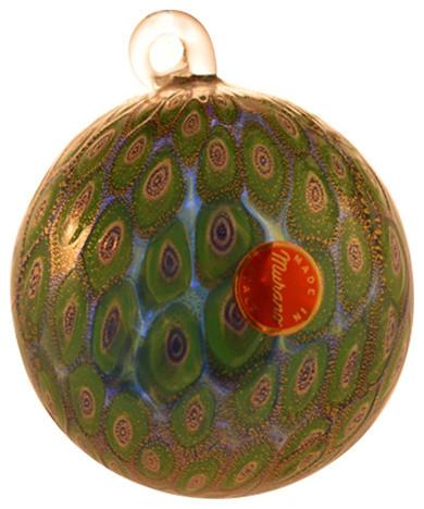 Murano Glass Blue And Emerald Christmas Tree Ornament