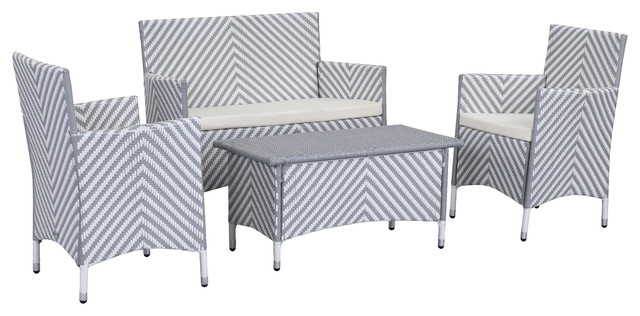 Safavieh Figueroa 4-Piece Outdoor Patio Set, Gray And White Ii.