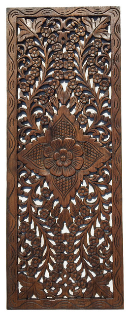 Large Floral Wood Carved Wall Panel Decoration Wall