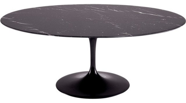 78 Oval Blommis Marble Top Dining Table Black