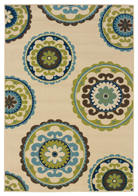 3u00277x5u00276 Outdoor Indoor Area Rug, Ivory Green Blue Brown Circles Contemporary