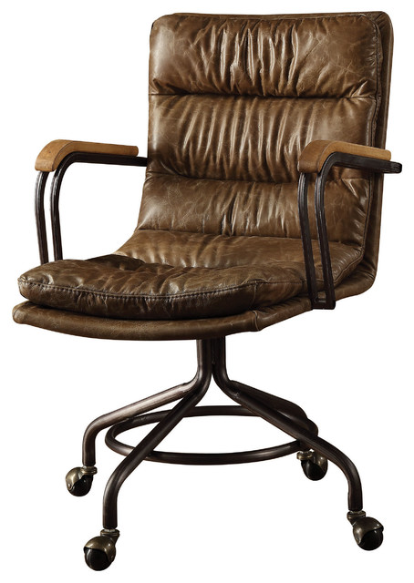 Amazing Hedia Top Grain Leather Office Chair Vintage Whiskey Interior Design Ideas Inesswwsoteloinfo