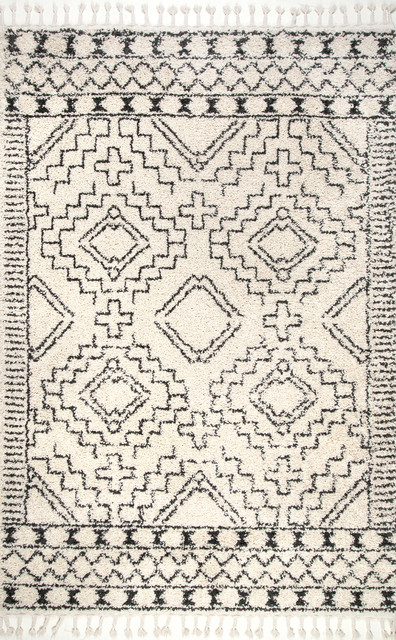 Moroccan Shag Tribal Chevron Tassel Area Rug, Off-White, 5&x27;3x7&x27;7.
