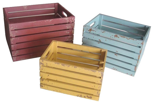Colorful distressed wood crates set of 3 contemporary decorative boxes by - Decorative wooden crates ...