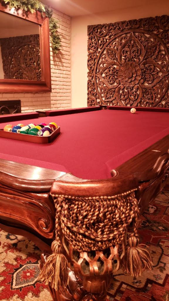 Hand carved mahogany antique pool table construction and installation