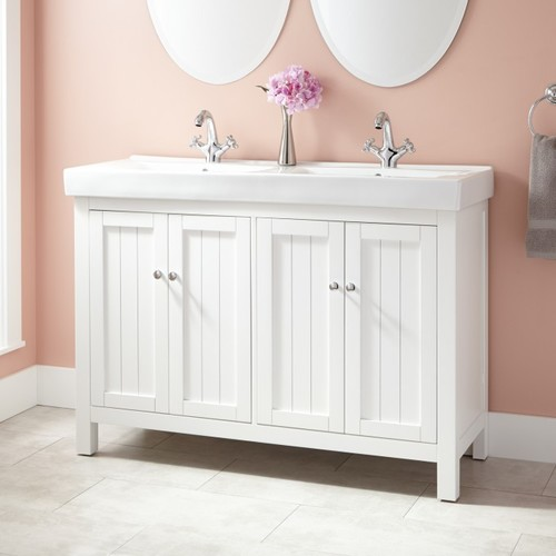 double sink vanity white.  Should I convert single sink to double vanity w only 48 counter