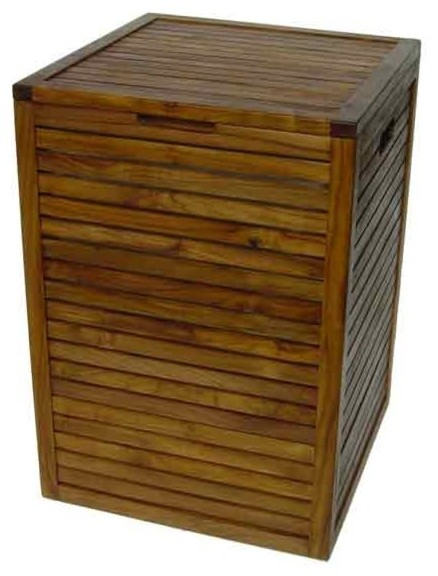 Teak Hamper With Removable Lining, 18 X 18 X 25.4