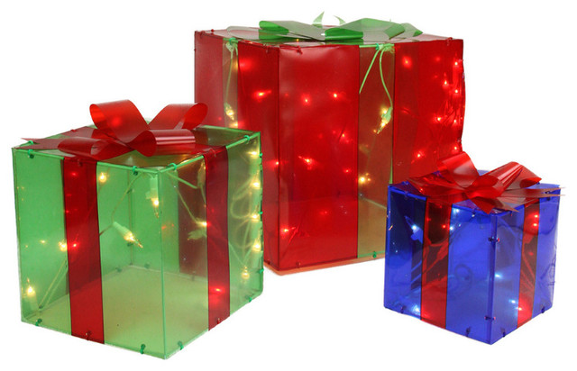 Lighted Christmas Boxes Decoration.3 Piece Lighted Red Green And Blue Gift Box Presents Christmas Decoration Set