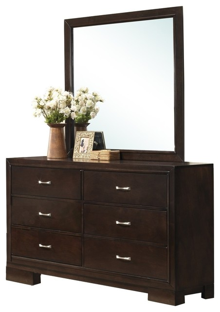 Furnituremaxx Montana Modern Wood Dresser And Mirror
